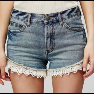 Free People Jean Shorts with lace trim
